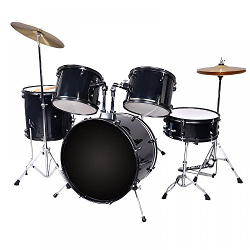 New Black Drum Set 5 PC Complete Adult Set Cymbals Full...