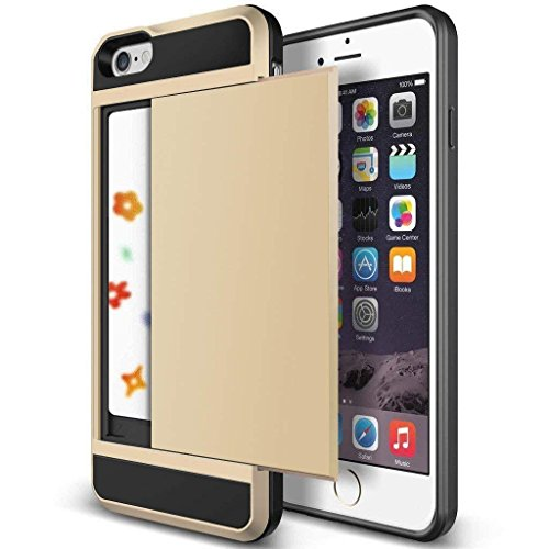 iPhone 6 Case, Anuck iPhone 6 Wallet case [Anti Scratch][Heavy Duty][Card Pocket] Dual Layer Hybrid Rubber Bumper Protective Card Case Cover for Apple iPhone 6 4.7 inch & iPhone 6s 4.7 inch – Gold