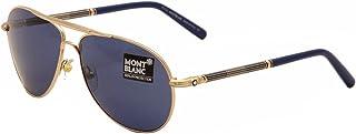 ca7bcf7f99 Mont Blanc Men s MB512S MB512 S 28V Gold Cobalt Blue Aviator Sunglasses 61mm