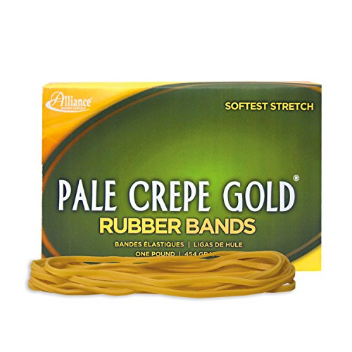"""Alliance Rubber 21405 Pale Crepe Gold Rubber Bands Size #117B, 1 lb Box Contains Approx. 300 Bands (7"""" x 1/8"""", Golden Crepe)"""
