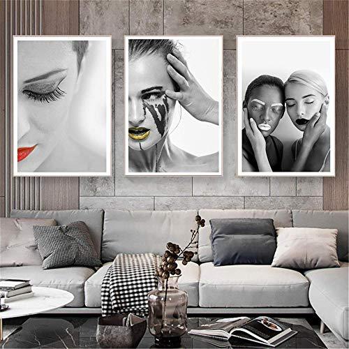 FYBSNDY Wandkunst Nordic Simple Life Lips Kunst Schwarz-Weiß-Mädchen Poster Leinwand 3 Stück Malerei Kunst Geschenk Home Print Dekoration 30Cmx50Cmx3 Ohne Rahmen