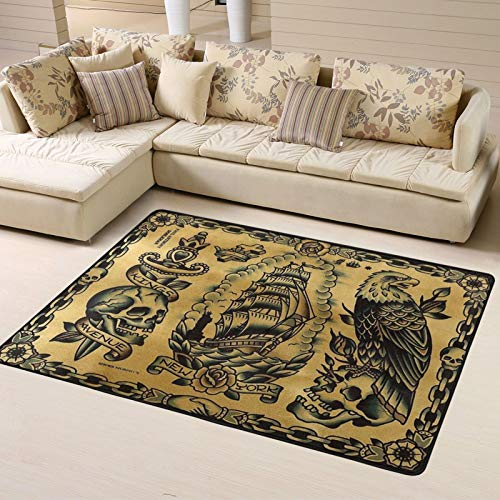 Modern Oversized Traditional Eagle Tattoo Area Rug Floor Carpet Bathroom Mat for Kitchen/Living/Bedroom/Gaming Room Home Decor