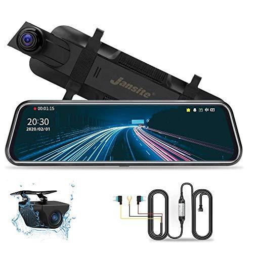 10' Retrovisor Coche Mirror Dash CAM con Hardwire Kit 24 Horas de monitoreo de estacionamiento Grabación de lapso de Tiempo, 1080P Dual Dash CAM Trasera y Delantera con visión Nocturna