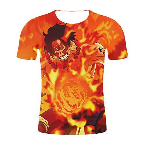 Herren Kurzarm T-Shirt Ruffy3D gedruckt inspiriert Comic Teenager Anime T-Shirt-C_XL