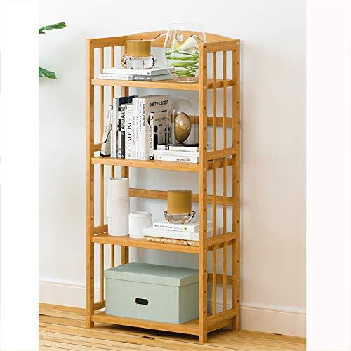 WWWANG Bamboe Storage Shelf Boekenkast - DIY Verstelbare 4-laags Organizer Boekenkast - Bamboe Landing Storage Rack - Bureau Keuken (Color : 90 * 25 * 127cm)