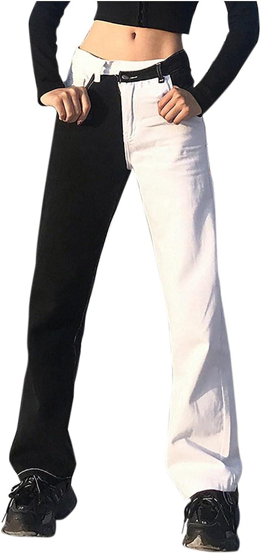 Fudule Y2K Jeans for Women High-Waist Straight Jeans Trendy Patchwork Pants Wide Leg Trousers Slim Fit Denim Streetwear