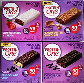 Protein One Protein Bars Variety - Chocolate Fudge Chocolate Chip Strawberries and Cream and Peanut Butter Chocolate 4 Pack