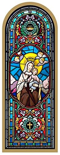 Ferrari & Arrighetti Cuadro Virgen del Carmen Estampa Estilo vidriera - 10 x 27 cm