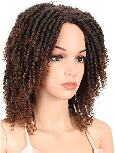 6' corto Dreadlock peluca torcedura pelucas para las mujeres negras rizado sintético