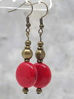 Orecchini Zen in bronzo antico e perle piatte rosse in turchese ricostituito