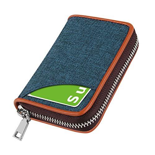 AMZTOPクレジットカードケース カード入れ スキミング防止 じゃばら 大容量 コインケース メンズ レディース 青いブルー