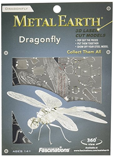 Fascinations Metal Earth MMS064 - 502708 Dragonfly (Libelle), Konstruktionsspielzeug, 1 Metallplatine, ab 14 Jahren
