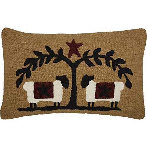 VHC Brands Heritage Farms Sheep and Star Hooked Graphic/Print Textured Wool Primitive Bedding Hand Sewn 22x14 Filled Pillow  Mustard Tan
