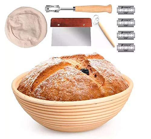 Banneton Rattan Bread Proofing Basket Set 9 Inch Round for Rising Dough DIDONA CONCEPTS | with Stainless Steel Dough Scraper, Brotform Cloth Liner, Dough Whisk, Bread Lame Tool | includes Sourdough Recipe
