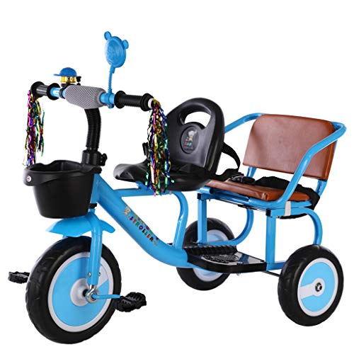 SONG Kids' Tricycles Double Child Tricycle Baby Tricycle Safety Bicycle Twin Stroller Two-seat Tricycle (Color : Blue)