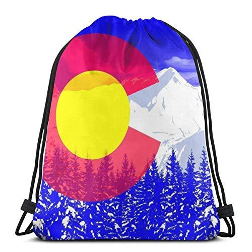 "Yuanmeiju Colorado Snow Mountain 3D Print Mochila con cordón Rucksack Shoulder Bags Bolsa de Gimnasio For Adult 16.9""X14"""