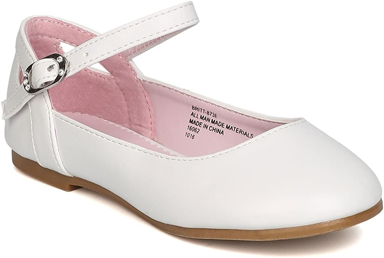 Girls Leatherette Ankle Strap Cut Out Ballet Flat GB39 - White (Size: Toddler