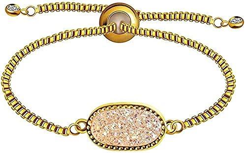 WYDSFWL Collar Natural Druzy Stone Charm Bracelet Pulsera de eslabones de Cadena para Mujer Pulsera Trenzada Joyas Brazaletes Longitud 24cm Collar