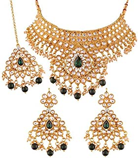 Aheli Ethnic Wedding Wear Faux Kundan Studded Necklace with Maang Tikka for Women Indian Traditional Fashion Jewelry Set