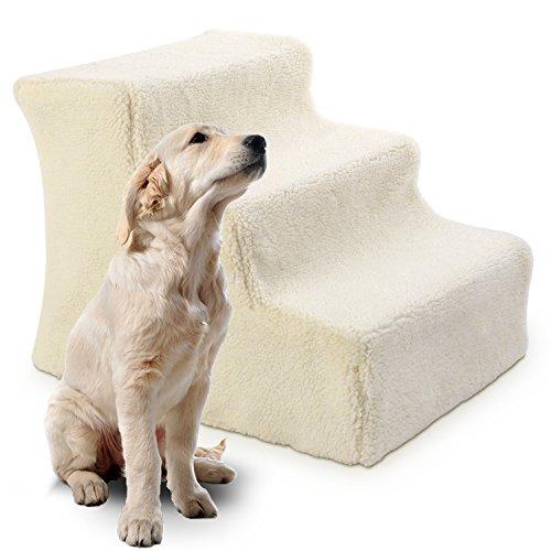Promotion Cadeau Noël (-10%) PEDY Escalier pour Chien Chat PetStair Escalier Animal Marches Cachemire Riz Blanc 46*36*34cm-3 Marches - Easy Step Pets