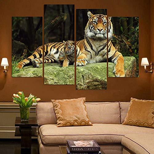 WSNDGWS Decoración del hogar Quad Tiger Animal HD Pintura Decorativa sin Marco E3 40x40cmx3