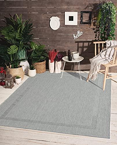 the carpet Mistra In- & Outdoor Teppich Flachgewebe, Modernes Design, Trendige Farben, Superflach, UV- und Witterungsbeständig, Bordüre, Grau, 160 x 220 cm