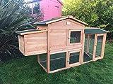 Soulitem Grand poulailler, 58 pouces poulaillers lapin clapier cage poule en bois maison animal jardin extérieur (58 'L x 21' W x 33.5 'H)
