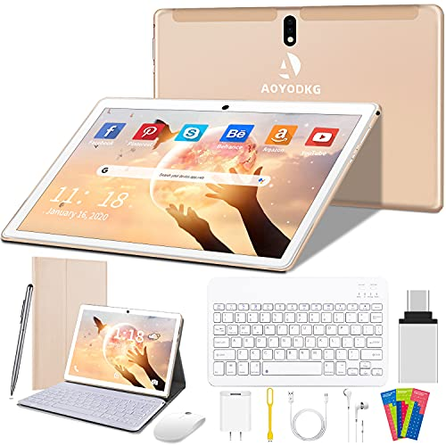 Tablet 10 Pulgadas 4G/WiFi Android 9.0 Pie Ultrar-Rápido Tablets 4GB RAM + 64GB ROM/256GB Escalable | Laptop Convertible de Oficina | Dual SIM - 8000mA Bluetooth GPS Type-C (5+8.0MP Cámara) (Oro)