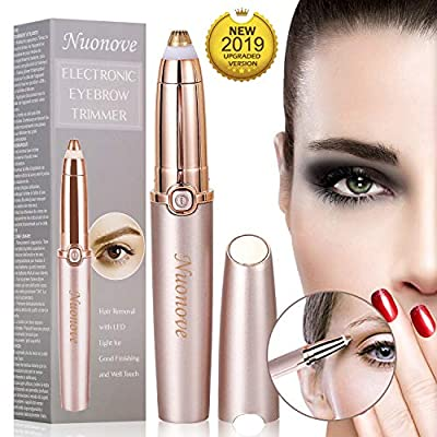 Eyebrow Hair Remover, Eyebrow Trimmer for Women, Electric Eyebrow Trimmer, Painless Eyebrow Trimmer Epilator for Women, Portable Eyebrow Hair Removal Razor with Light, Rose Gold from Yuntian-Store
