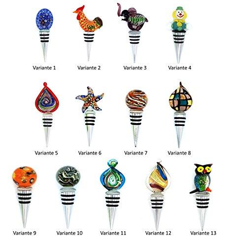 meindekoartikel Flaschenverschluss aus Edelstahl mit Dichtungsringen und Glas-Figur Verschiedene Varianten (VAR.3 Elefant)