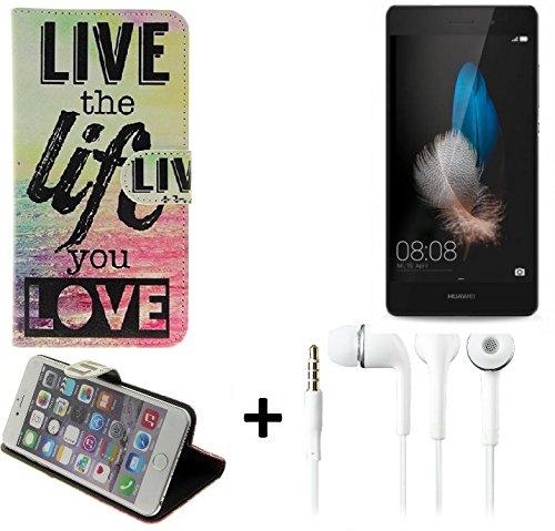 K-S-Trade Schutzhülle Für Huawei P8 Lite Dual-SIM Schutz Hülle 360° Wallet Hülle ''live Life Love'' Schutzhülle Handy Tasche Handyhülle Etui Smartphone Flip Cover Standfunktion Ohrstöpsel