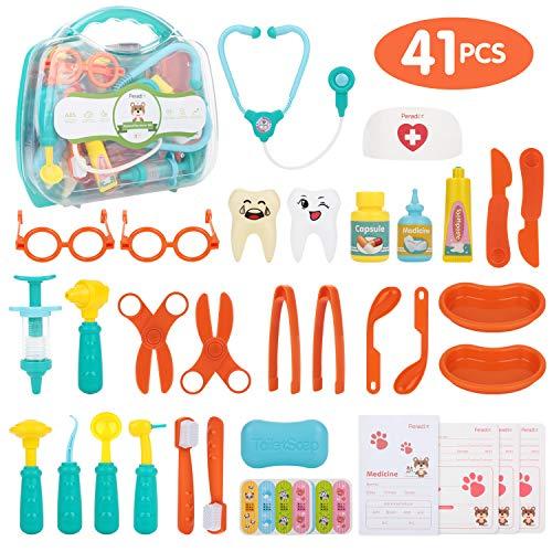 Peradix Arztkoffer Medizinisches Spielzeug 41pcs Medizinische Kit, Arzt Spielzeug Kinderarztkoffer Doktor Rollenspiel Spielzeug Kit Lernspielzeug Kinder Rollenspiele Geschenke für Kinder 2 3 4 Jahren