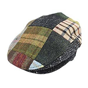 Irish Hats for Men Biddy Murphy Men's Flat Irish Hat Patchwork 100% Wool Made in Ireland