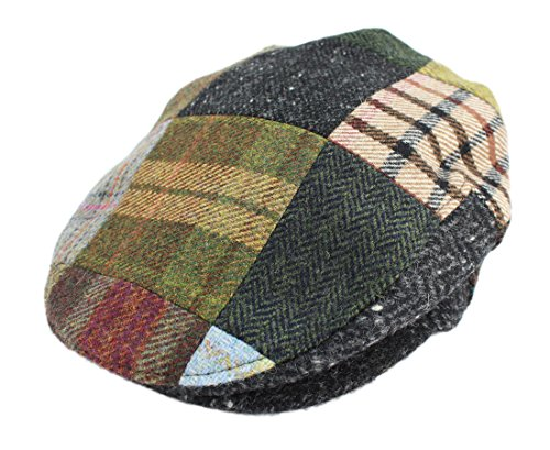 Irish Hats for Men Biddy Murphy Men's Flat Irish Hat Patchwork 100% Wool Made in Ireland Large