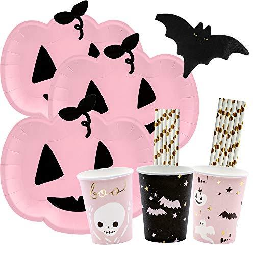 spielum 56-teiliges Party-Set Halloween Kürbis Fledermaus - Teller Becher Servietten Trinkhalme für 12 Personen