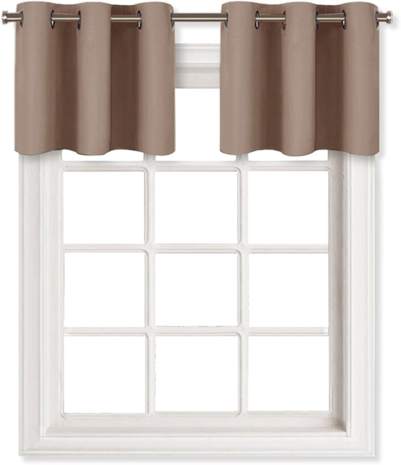 NICETOWN Window Treatment Blackout Tier - Home Fashion Grommet Blackout Curtain Panel Pieces, W29 x L18-Inch - Taupe