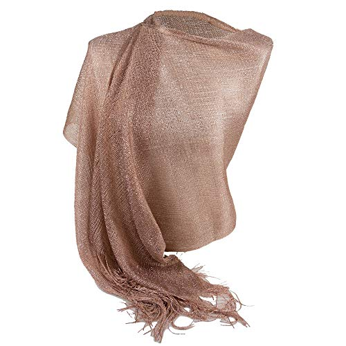 Emila Stola cipria cerimonia coprispalle elegante bronzo a rete con frange foulard oro rosa scialle grande sciarpa lurex da matrimonio per abito da sera giorno primavera estate 2021 estivo rose-gold