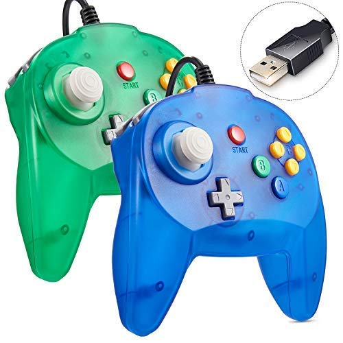 2 Pack N64 Mini USB Controller, Retro Classic Wired N64 64-bit Game Upgraded Joystick Controller for Windows PC/Mac Ice Blue&Green