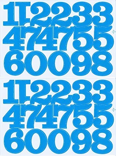 (シャシャン)XIAXIN 防水 PVC製 数字 ナンバー ステッカー セット 耐候 耐水 ローマ字 数字 キャラクター 表札 スーツケース ネームプレート ロッカー 屋内外 兼用 TS-520 (サックス, 2点)