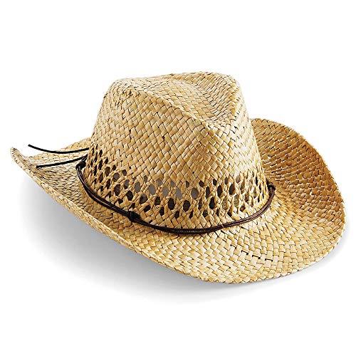Beechfield Neuf Unisexe Tearaway étiquette de Tissu fabriqué à la Main Paille Chapeau de Cowboy - Beige - Taille Unique