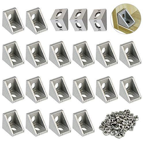 TANCUDER 20 PCS Soportes Esquina de Aluminio y 100 PCS T Ranura Tuerca de M5 Soporte de Esquina 90 Grados de Modelo de 2020 Escuadra Ángulo L para Perfil Aluminio Extrusión Fijación de Industria Hogar