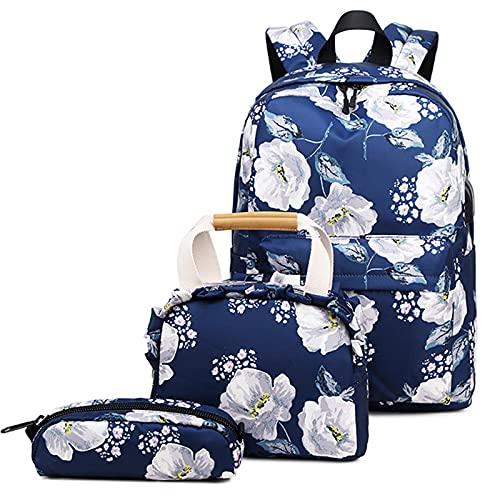 YXST Computadora Mochila para Adolescentes,Impermeable Mochila Portatil con Puerto de USB Grande Daypack Ambulante,para Los Estudios,Viajes O Trabajo,Navy-Blue