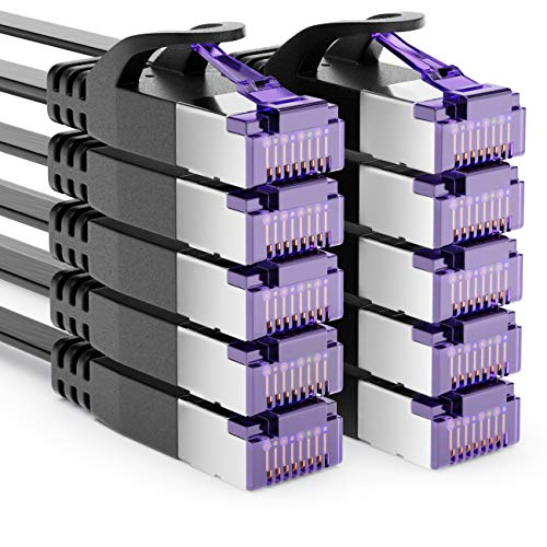 deleyCON 10x 0,25m RJ45 Cable de Conexión Cable Plano con Cable Bruto...