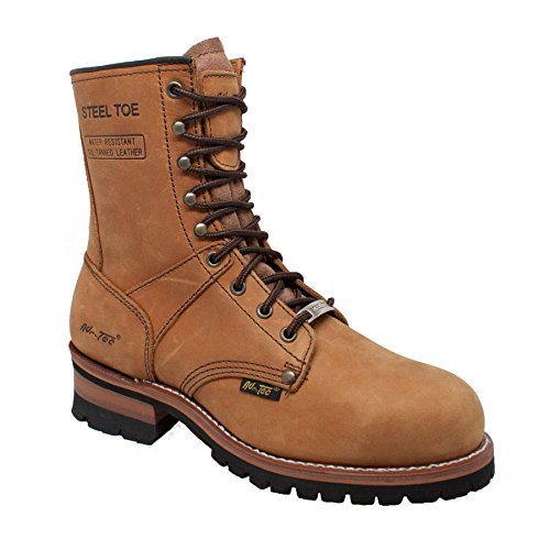 Ad Tec 9' Super Logger Steel Toe Boots for Men, Leather Goodyear Welt Construction & Utility Footwear, Durable and Long Lasting Work Shoes, Lug Sole (Brown, Numeric_10_Point_5)