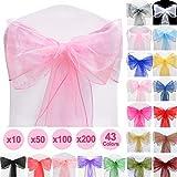 Time to Sparkle TtS 100 Pièces 22x280cm Organza Nœud Chaise Organza écharpe de Housse Chaise décorations Mariage Anniversaire (Pink)
