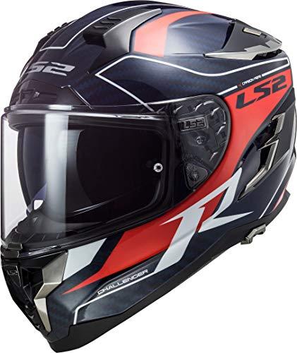 LS2 Challenger Grid Carbon - Casco integral para moto (talla S), color azul y rojo