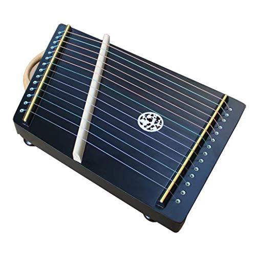 SXQ Gu Zheng Exerciser, Mini Chinese Guzhengs, chinesische Guzheng Instrument mit Voll Zubehör/Rucksack geeignet for Anfänger/Erwachsene/Kinder, 14 Streicher, 45 * 27 cm