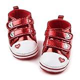 HMG Premier Walkers Tennis à Lacets en Forme de Coeur PU Chaussures en Cuir, Taille: 12cm (Rouge) (Color : Red)