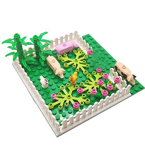 HYZM Pollo, paraíso con placas de construcción, paisaje, bosque, placa base con animales, árboles y figuras, juguete de construcción compatible con Lego