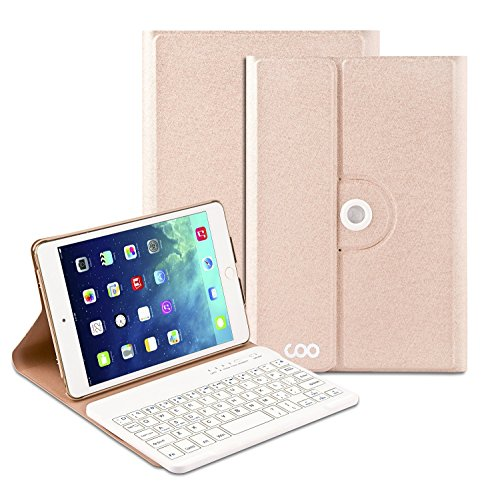 iPad Air 2 Keyboard, COO Wireless Removable Bluetooth Keyboard Case for Apple iPad Air/Air 2 with 360 Degree Rotation and Multi-Angle Stand (Champagne)